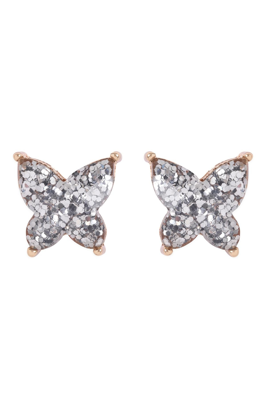 Riah Fashion Butterly Glitterer Epoxy Earrings - Front Cropped Image