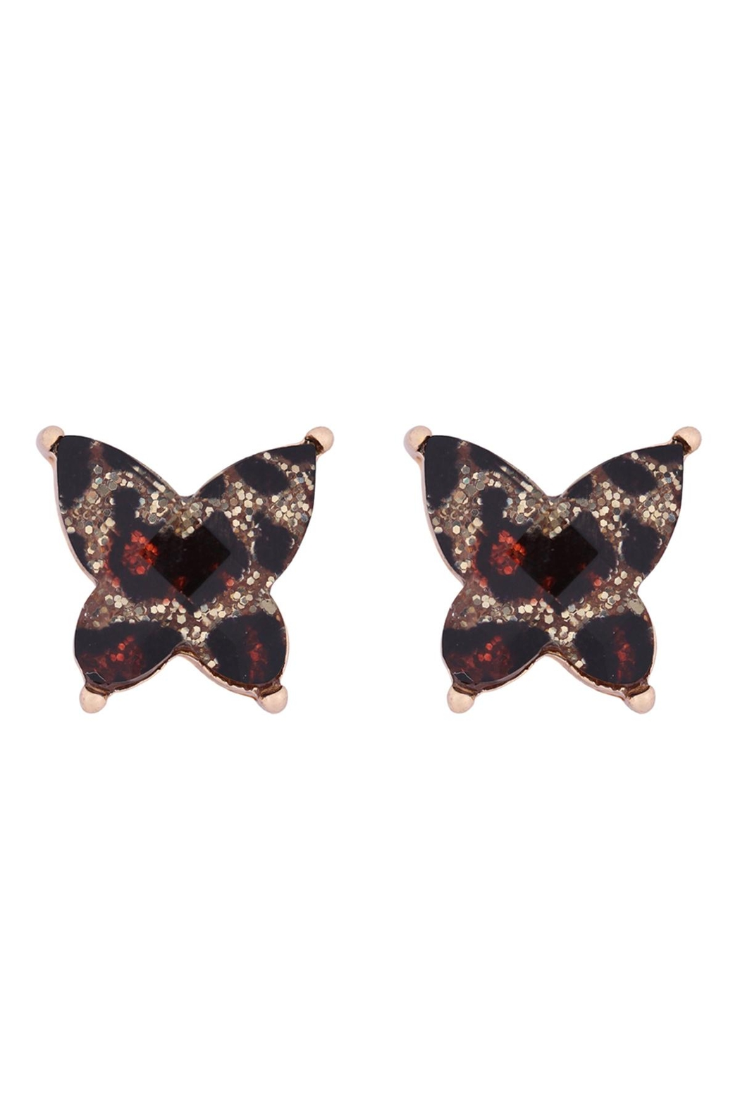 Riah Fashion Butterly-Glitterer-Epoxy-Earrings - Front Cropped Image
