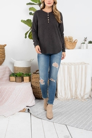 Riah Fashion Button-Detail-Long-Sleeve-Round-Hem-Solid-Top - Product Mini Image