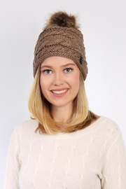 Riah Fashion Button Knitted Pom Beanie - Front full body