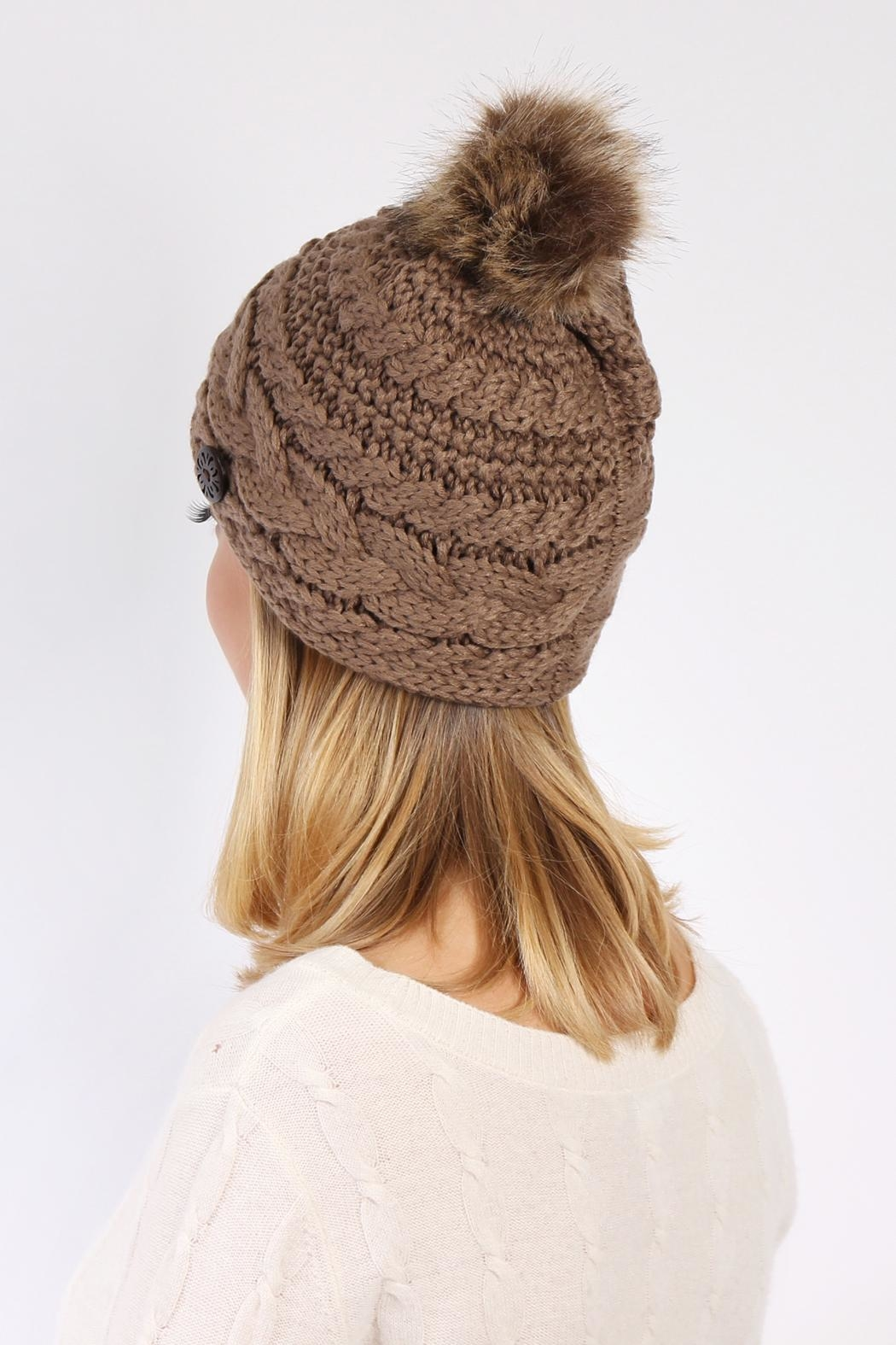 Riah Fashion Button Knitted Pom Beanie - Back Cropped Image