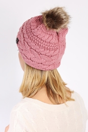 Riah Fashion Button Knitted Pom Beanie - Back cropped