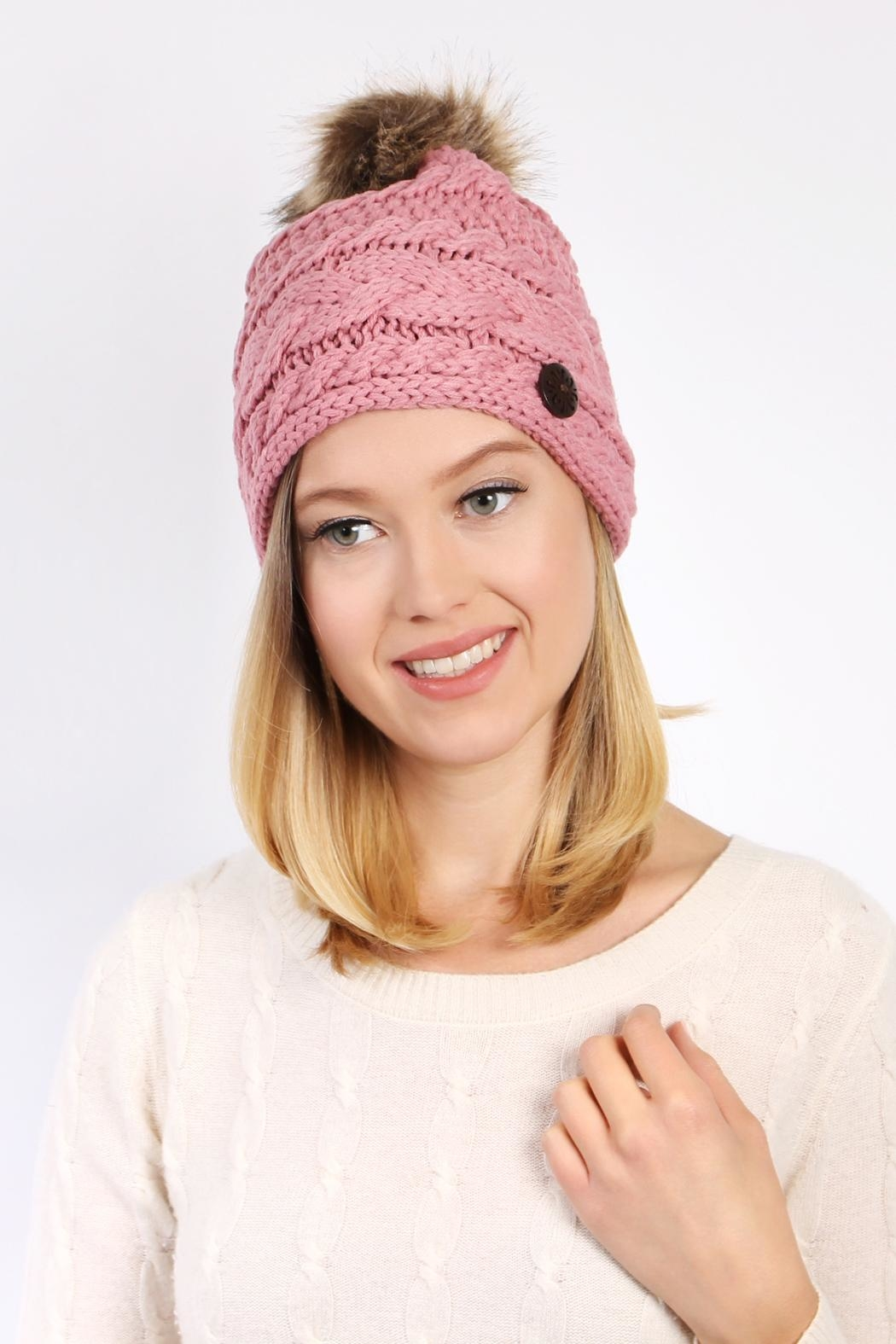 Riah Fashion Button Knitted Pom Beanie - Front Full Image
