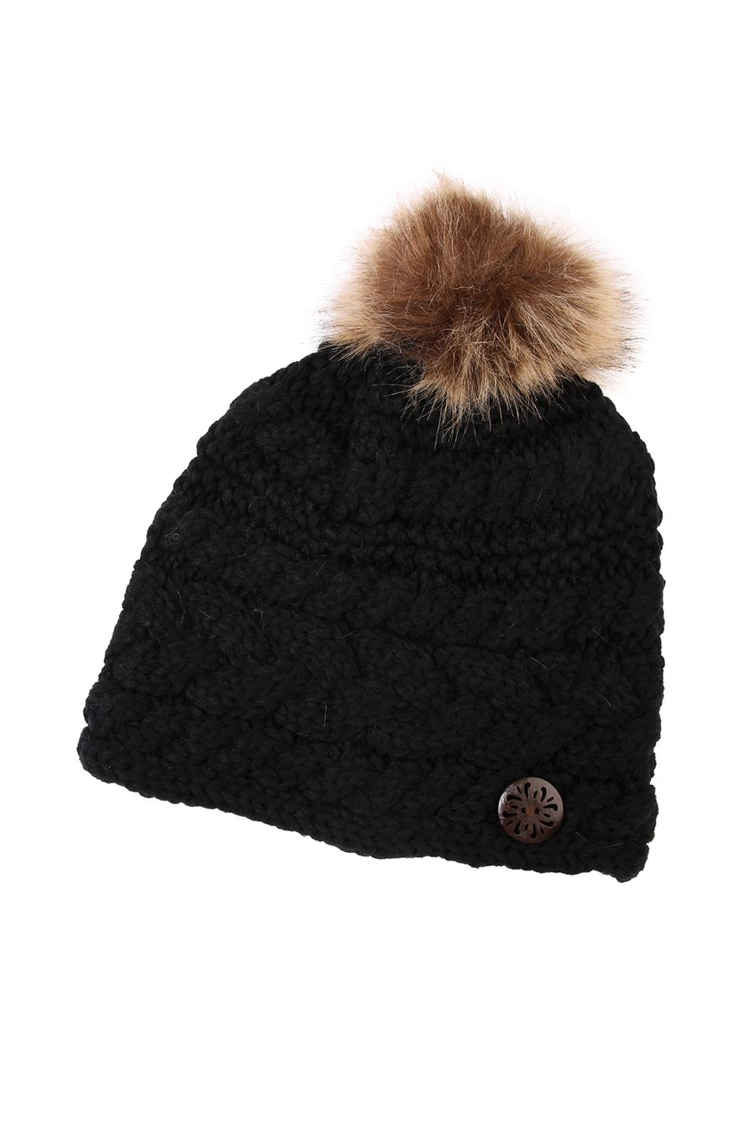 Riah Fashion Button Knitted Pom Beanie - Front Cropped Image