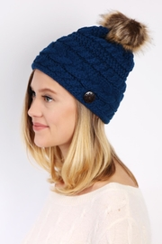 Riah Fashion Button Knitted Pom Beanie - Side cropped