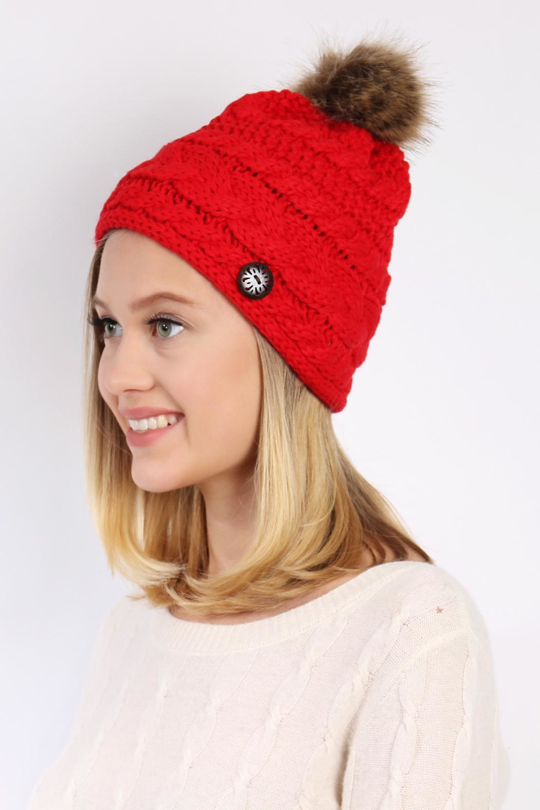 Riah Fashion Button Knitted Pom Beanie - Side Cropped Image
