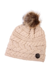 Riah Fashion Button Knitted Pom Beanie - Front cropped