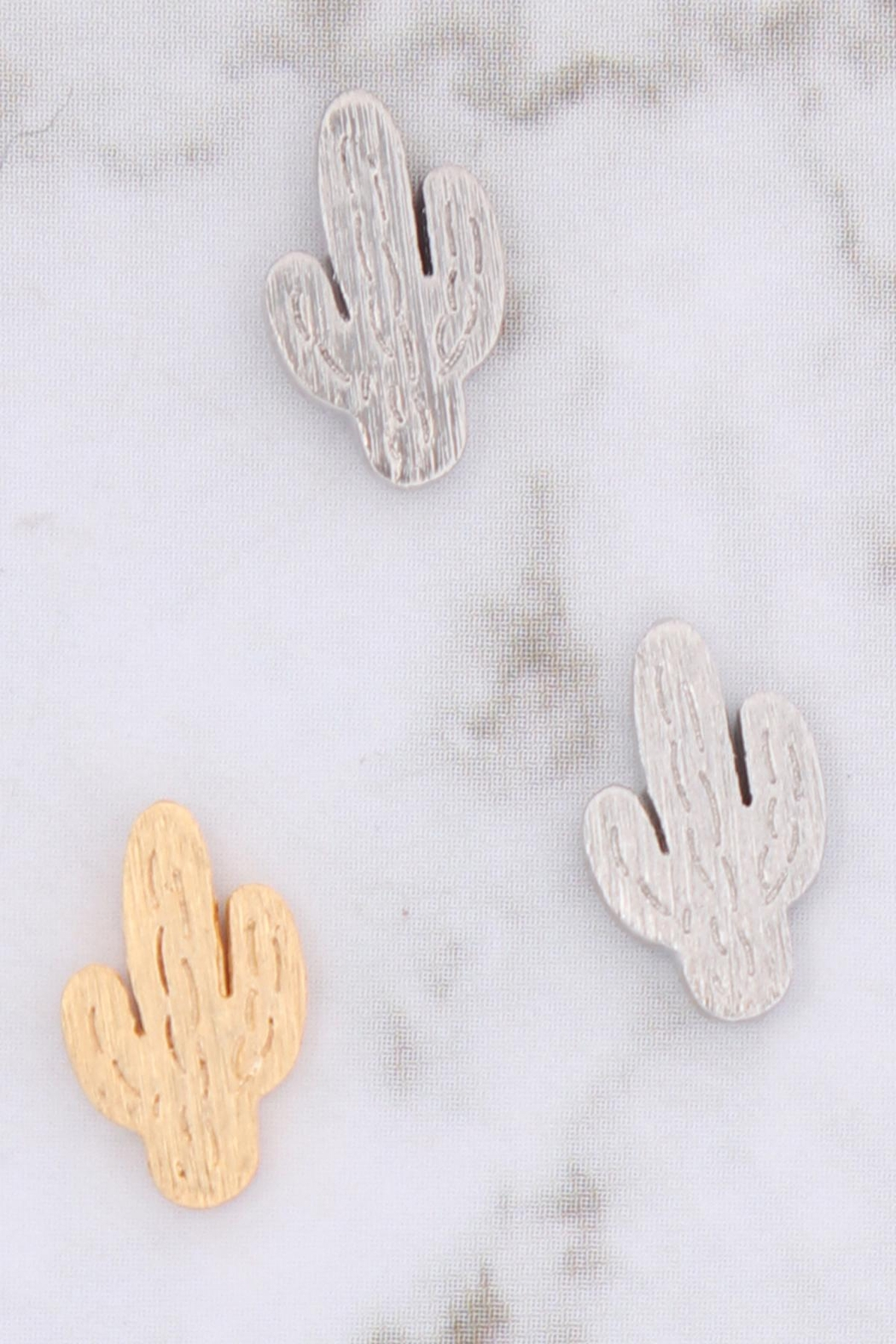 Riah Fashion Cactus-Cast-Textured-Post-Earrings - Front Full Image