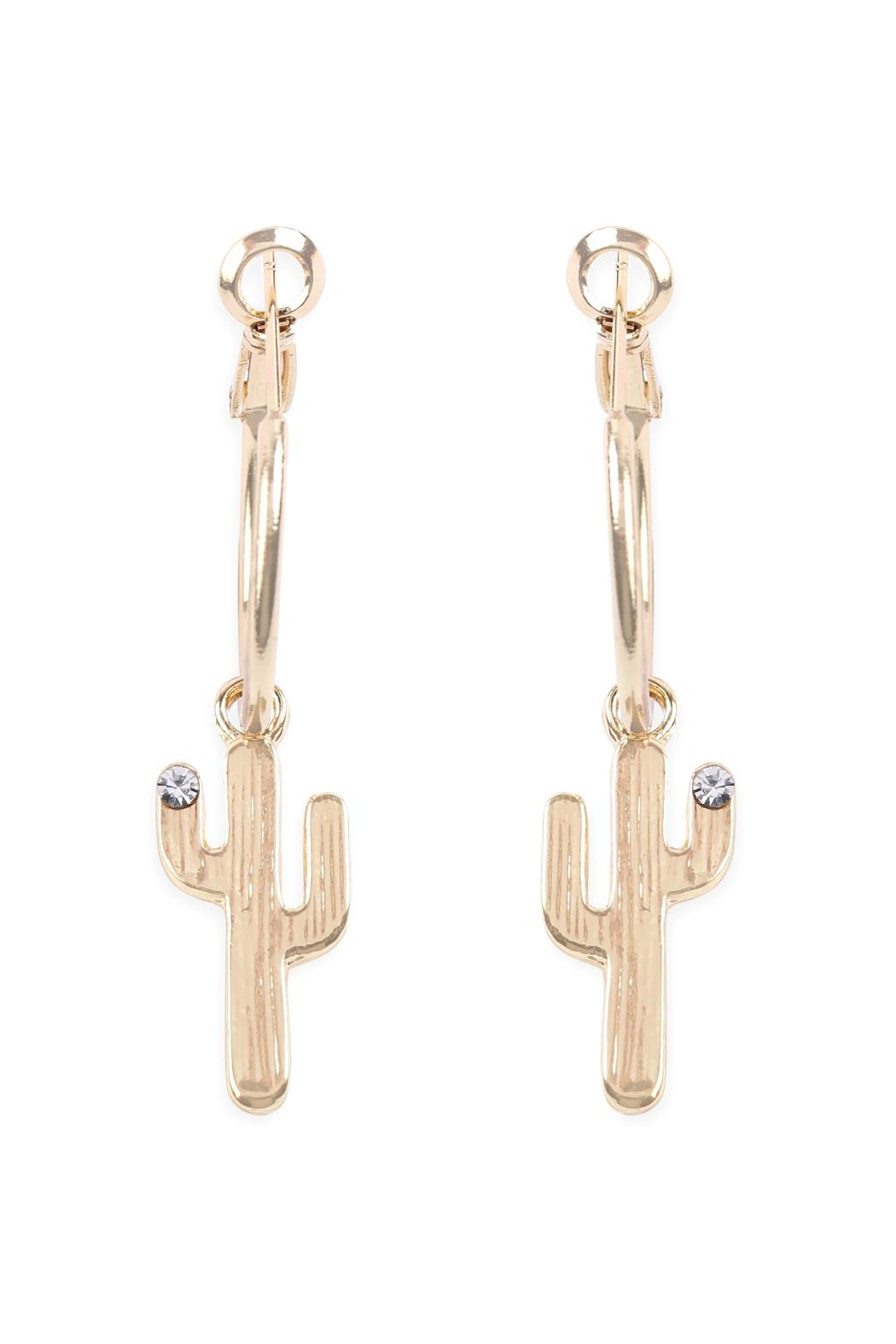 Riah Fashion Cactus Dangle Small-Hoop-Earrings - Front Cropped Image