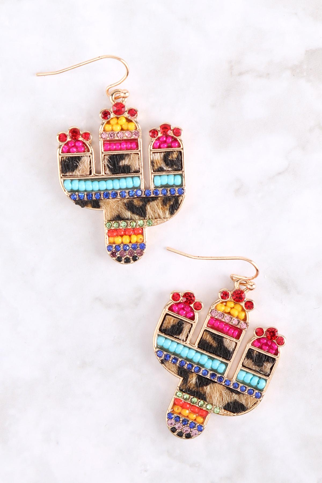 Riah Fashion Cactus-Mix-Seed-Bead-Rhinestone-Leather-Pave-Drop-Earrings - Front Full Image