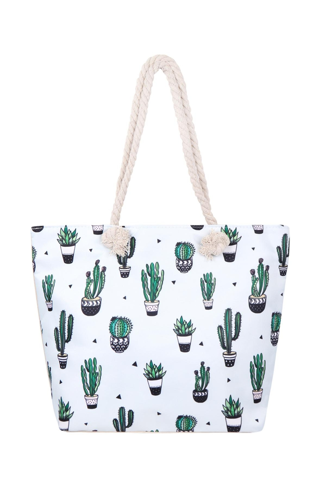 Riah Fashion Cactus-Plant-Print Tote Bag - Front Cropped Image