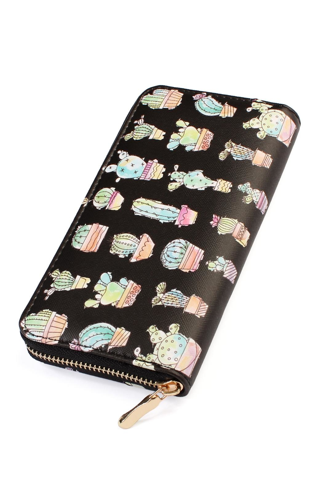 Riah Fashion Cactus Print Black-Wallet - Main Image