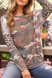 Riah Fashion Camouflage-Leopard-Elbow-Long-Sleeve-Top - Product Mini Image