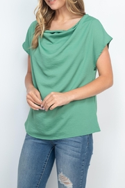 Riah Fashion Cap-Sleeve-Cowl-Neck-Woven-Top - Side cropped