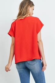 Riah Fashion Cap-Sleeve-Cowl-Neck-Woven-Top - Front full body