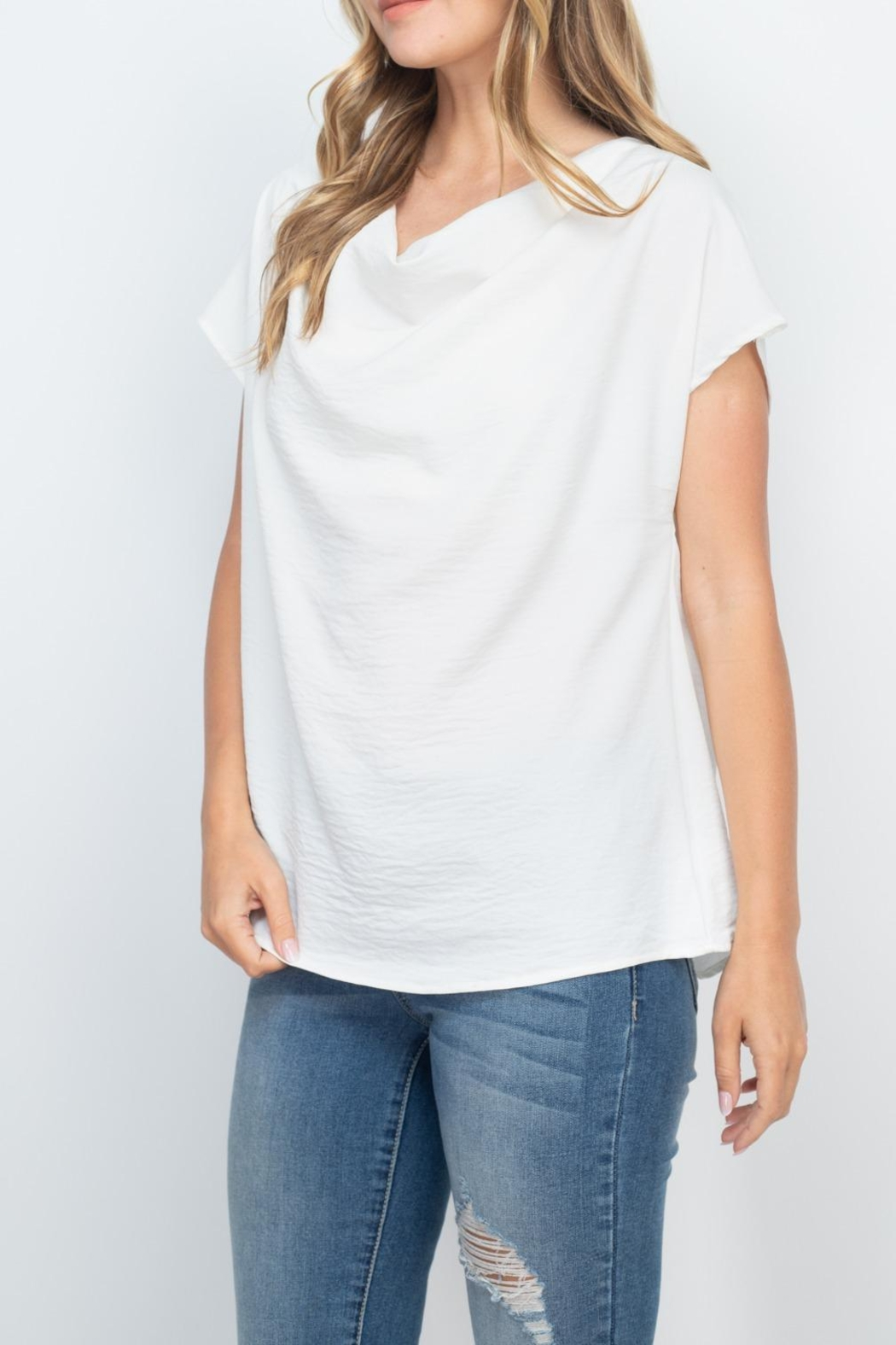 Riah Fashion Cap-Sleeve-Cowl-Neck-Woven-Top - Side Cropped Image