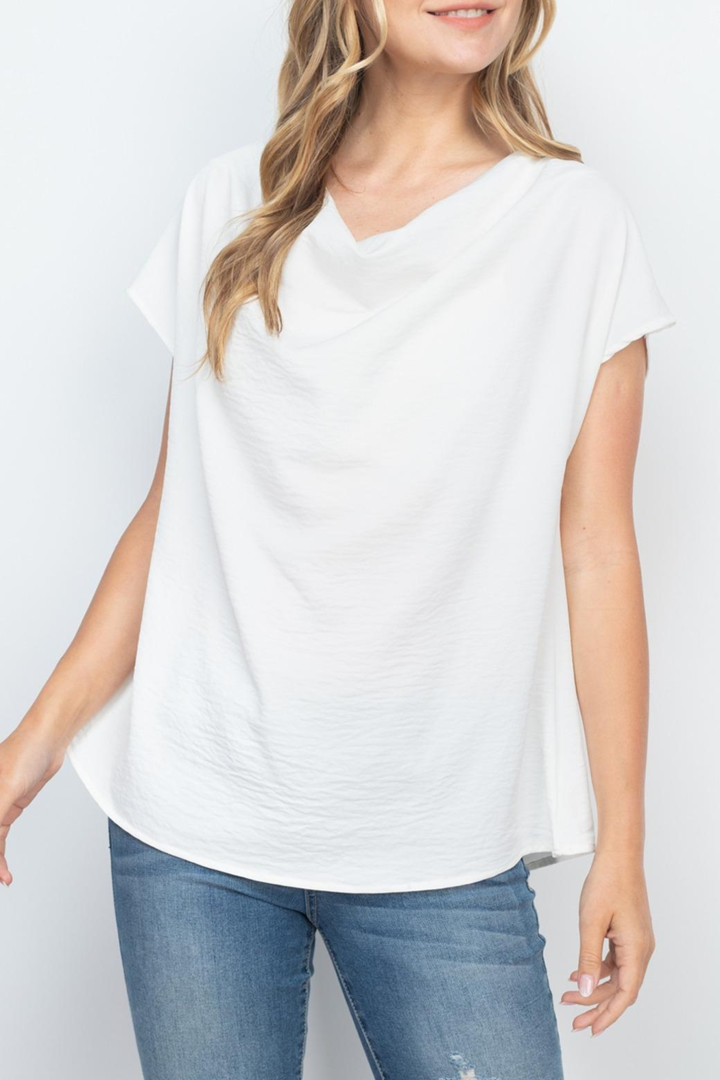 Riah Fashion Cap-Sleeve-Cowl-Neck-Woven-Top - Front Cropped Image