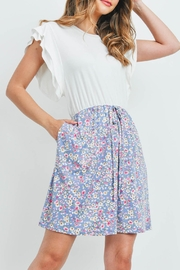 Riah Fashion Cap-Sleeve-Solid-Top-Floral-Contrast-Dress - Back cropped