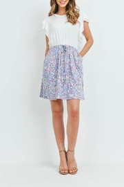Riah Fashion Cap-Sleeve-Solid-Top-Floral-Contrast-Dress - Front full body