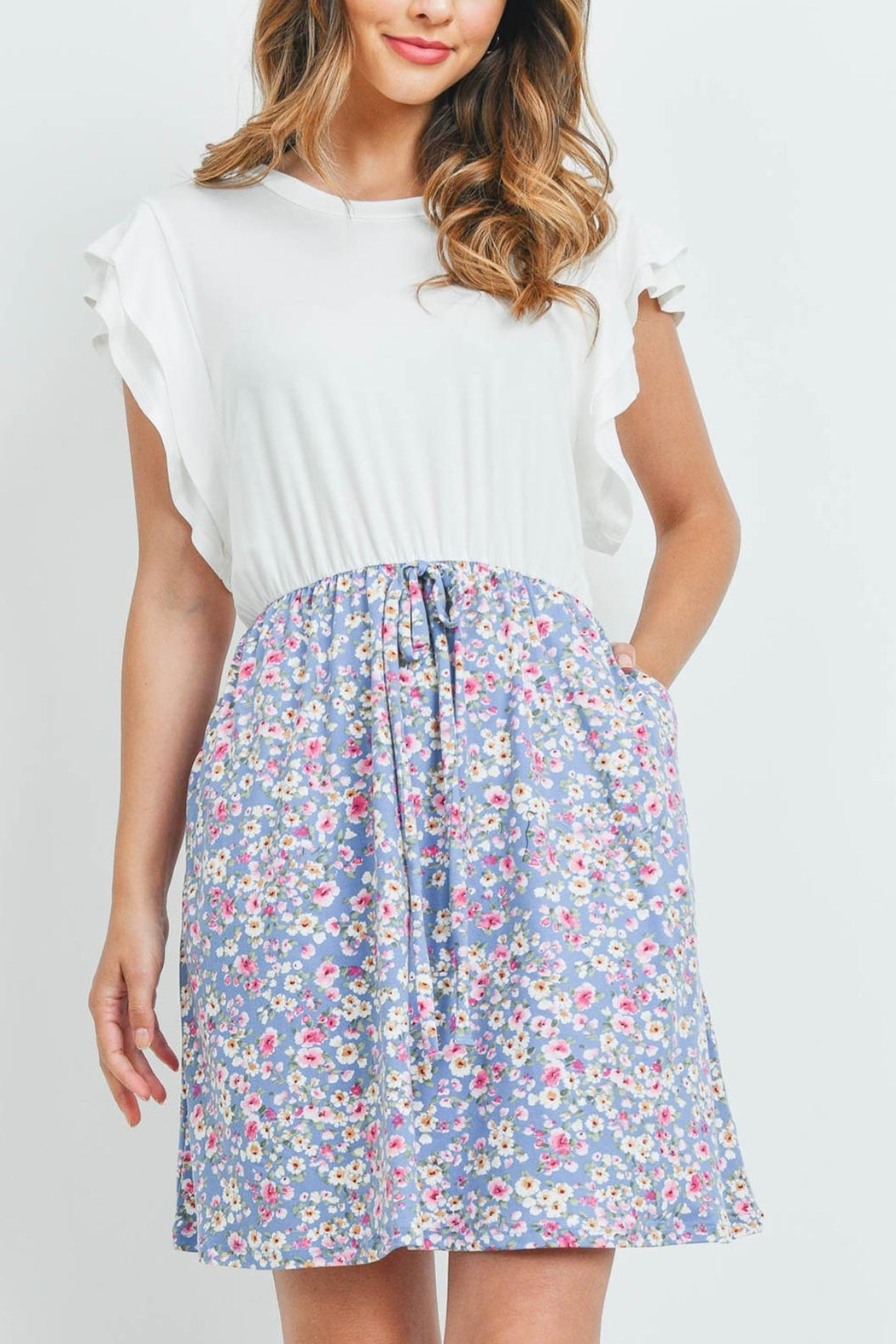 Riah Fashion Cap-Sleeve-Solid-Top-Floral-Contrast-Dress - Main Image