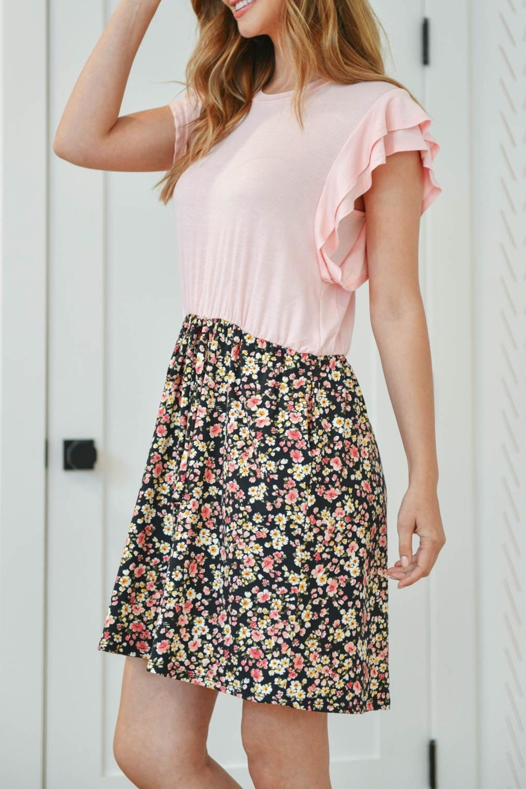 Riah Fashion Cap-Sleeve-Solid-Top-Floral-Contrast-Dress - Back Cropped Image