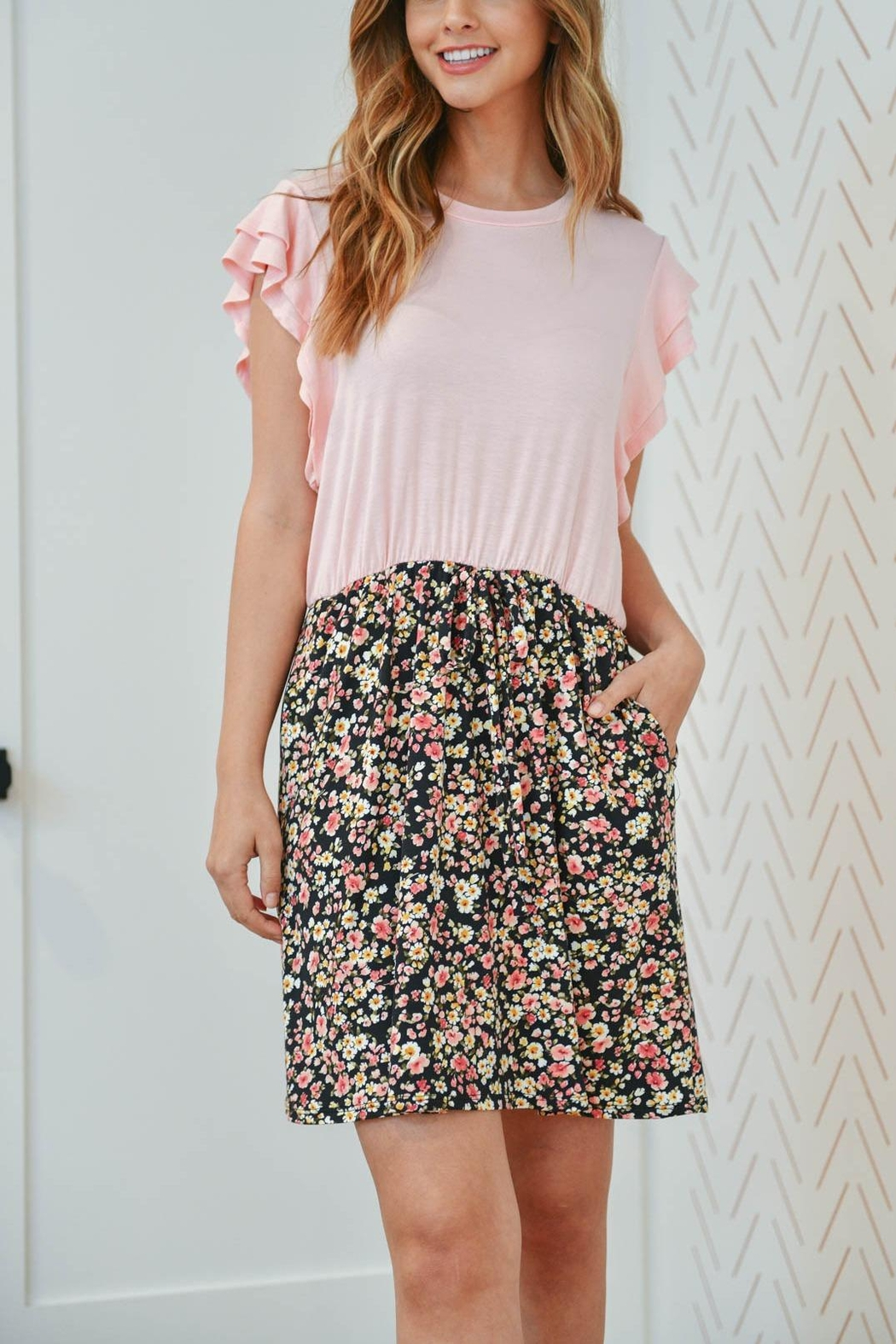 Riah Fashion Cap-Sleeve-Solid-Top-Floral-Contrast-Dress - Front Cropped Image
