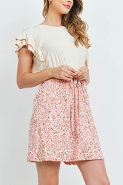 Riah Fashion Cap-Sleeve-Solid-Top-Floral-Contrast-Dress - Other