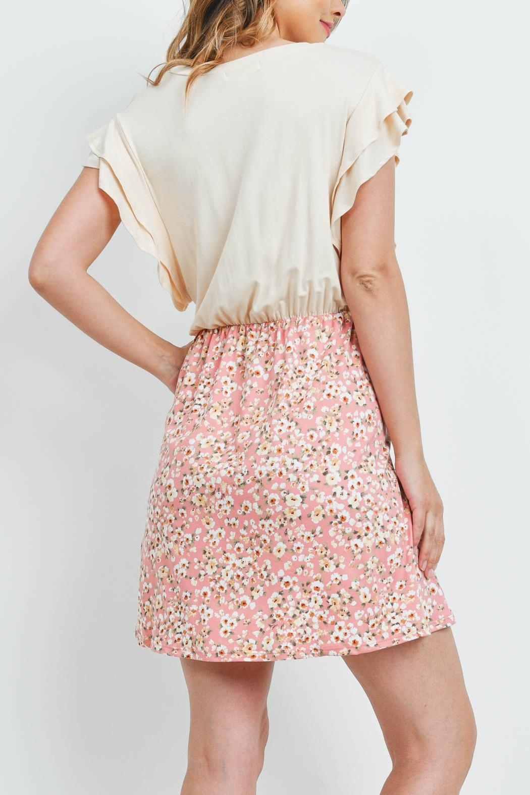 Riah Fashion Cap-Sleeve-Solid-Top-Floral-Contrast-Dress - Front Full Image