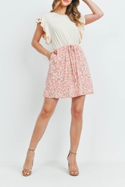 Riah Fashion Cap-Sleeve-Solid-Top-Floral-Contrast-Dress - Side cropped