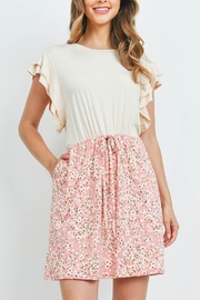 Riah Fashion Cap-Sleeve-Solid-Top-Floral-Contrast-Dress - Front cropped