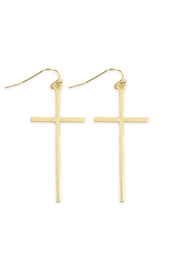Riah Fashion Cast Cross Hook Drop Earrings - Product Mini Image