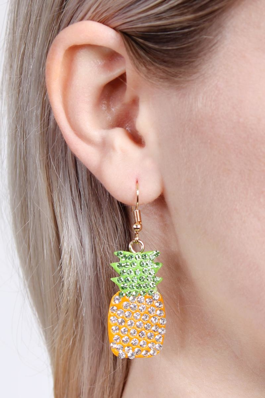 Riah Fashion Ceramic Pineapple Earrings - Front Full Image
