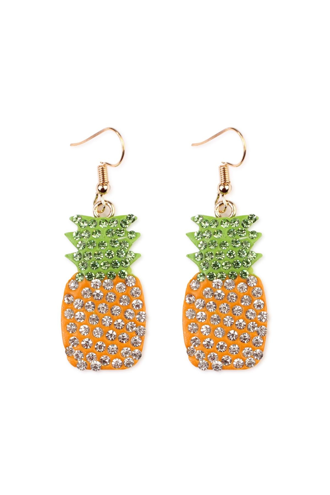 Riah Fashion Ceramic Pineapple Earrings - Front Cropped Image