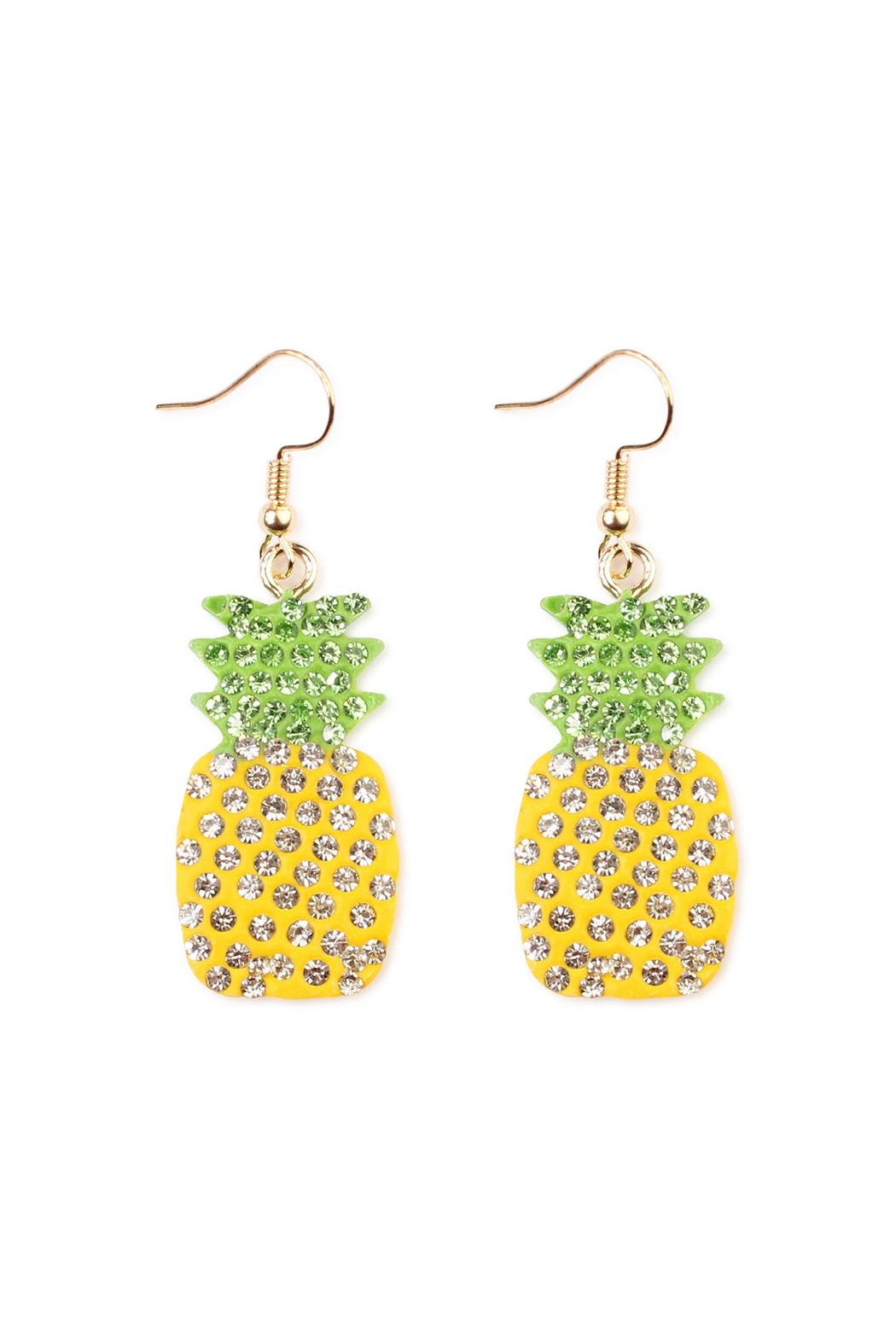 Riah Fashion Ceramic Pineapple Earrings - Main Image
