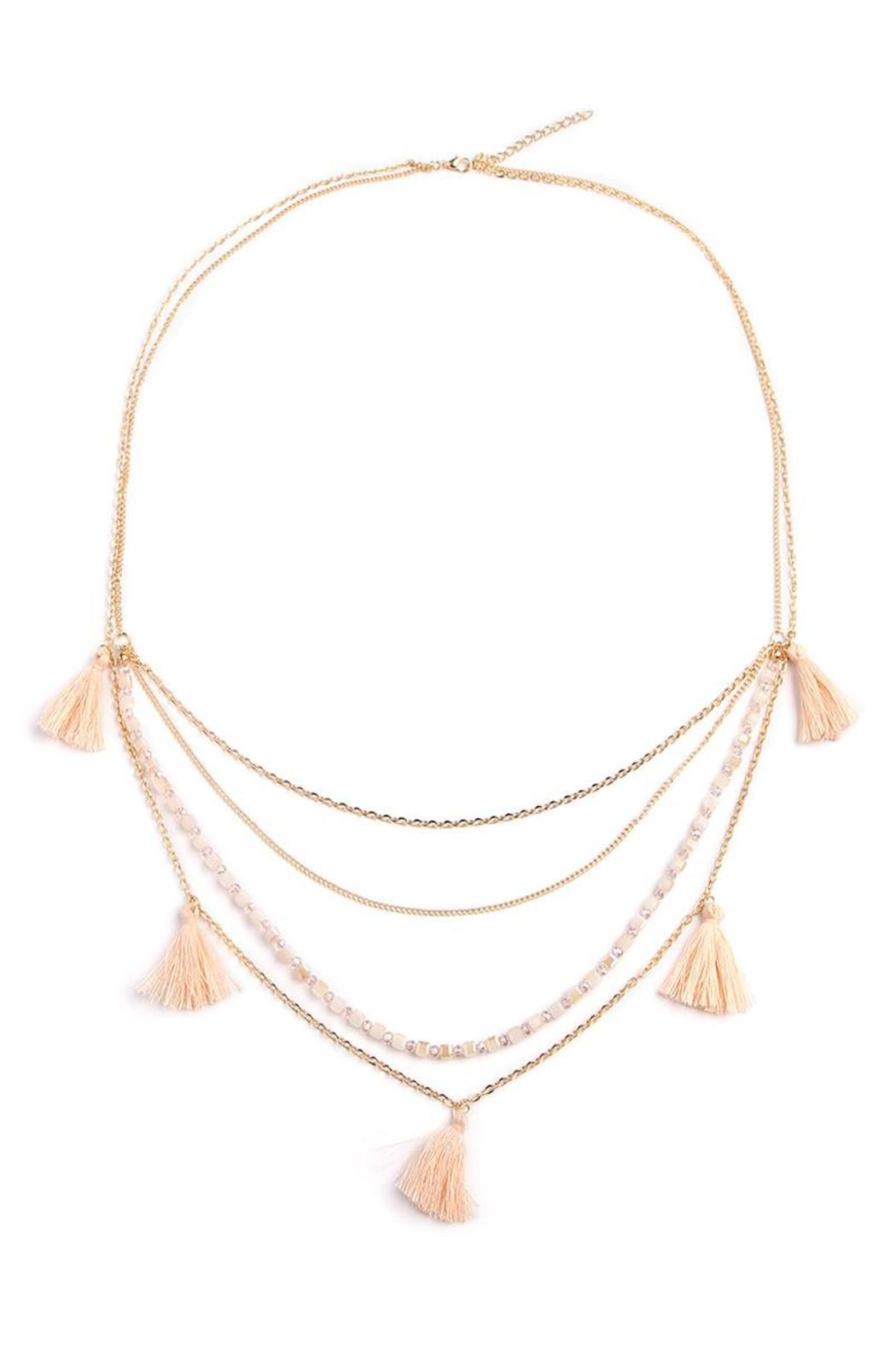 Riah Fashion Chain Tassel Necklace - Front Cropped Image