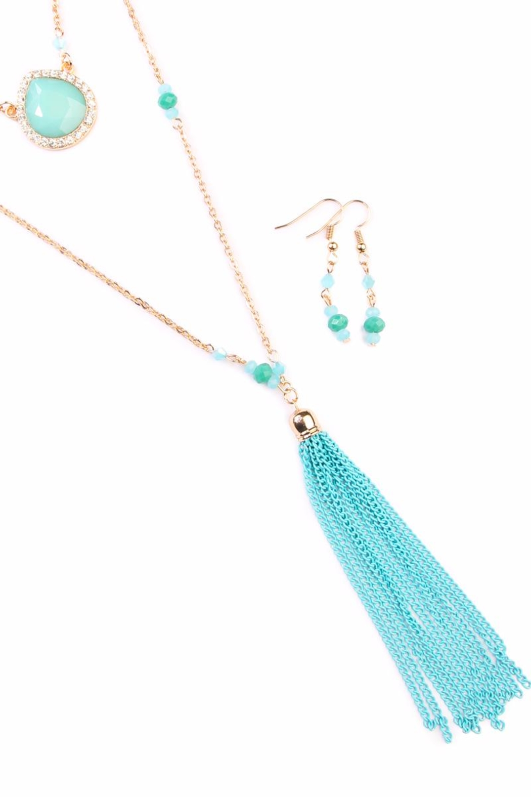 Riah Fashion Chain Tassel Necklace-Tq - Front Full Image