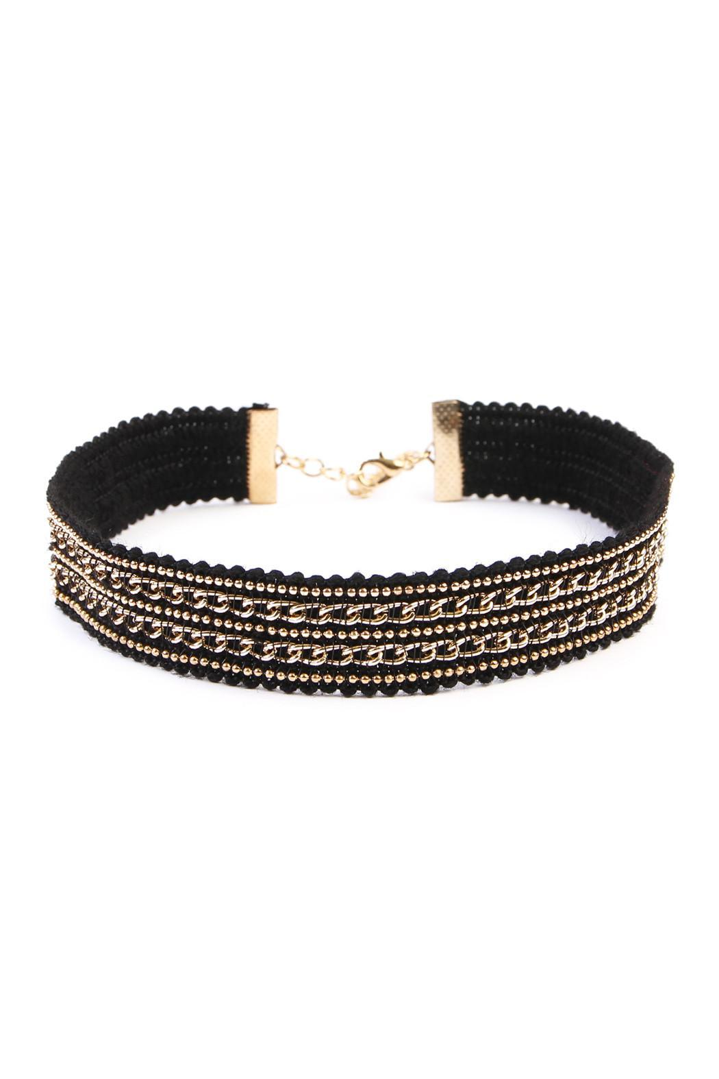 Riah Fashion Chain Velvet Choker - Front Cropped Image