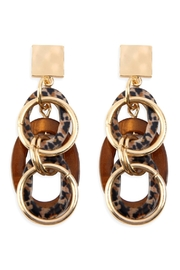 Riah Fashion Chained Hoop Post-Back Dangle-Earrings - Product Mini Image