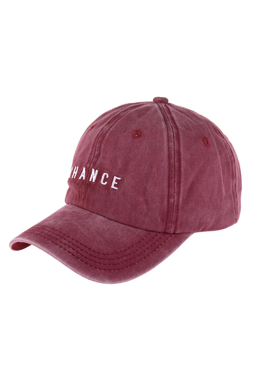 Riah Fashion Chance Embroidered Acid Wash Cap - Front Cropped Image