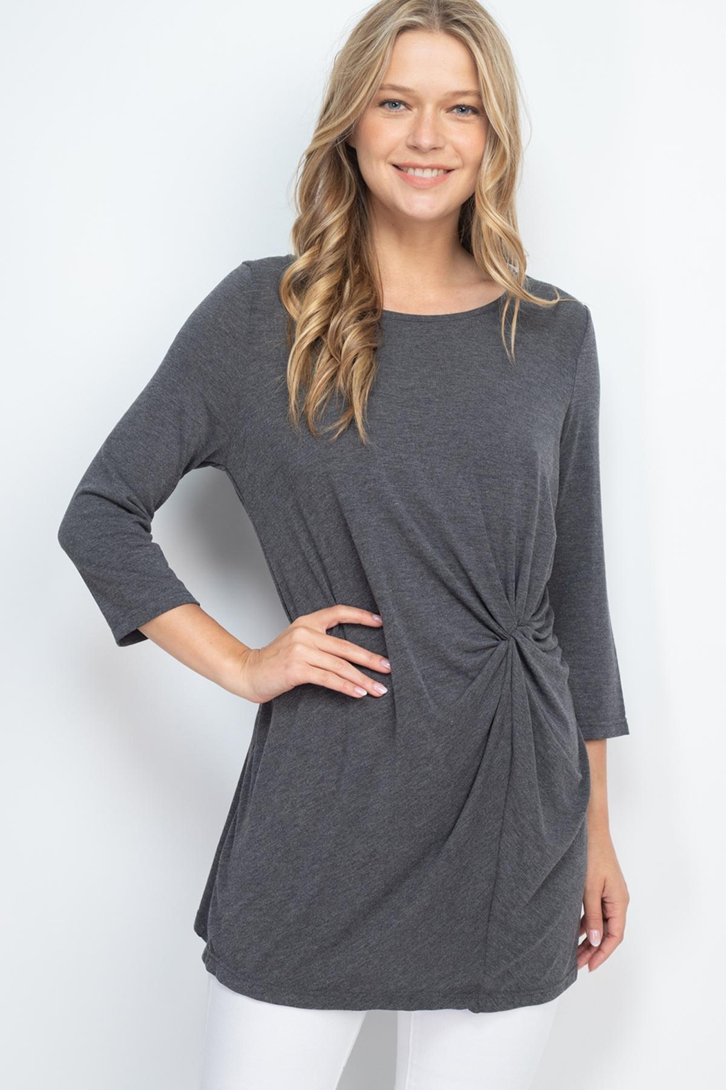 Riah Fashion Charcoal Top - Front Cropped Image