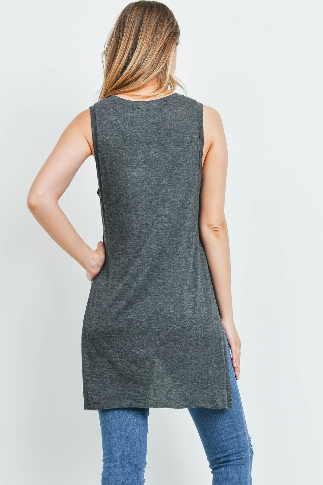 Riah Fashion Charcoal Top - Front Full Image