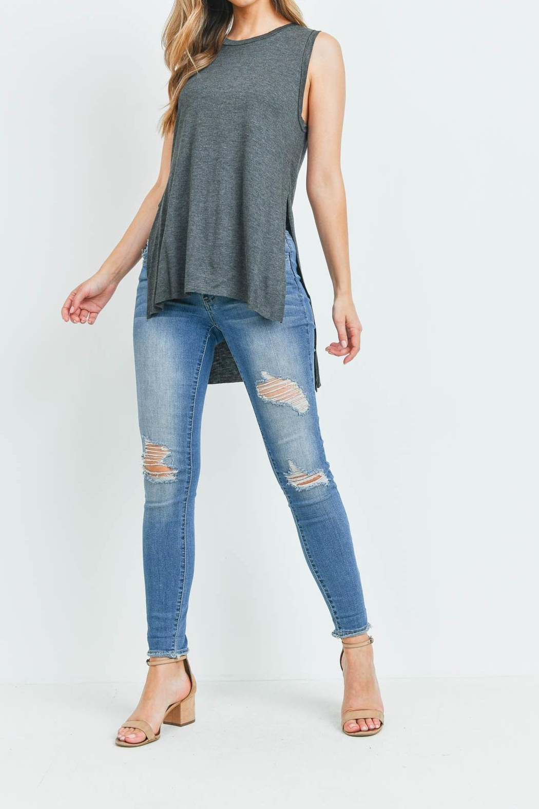 Riah Fashion Charcoal Top - Side Cropped Image