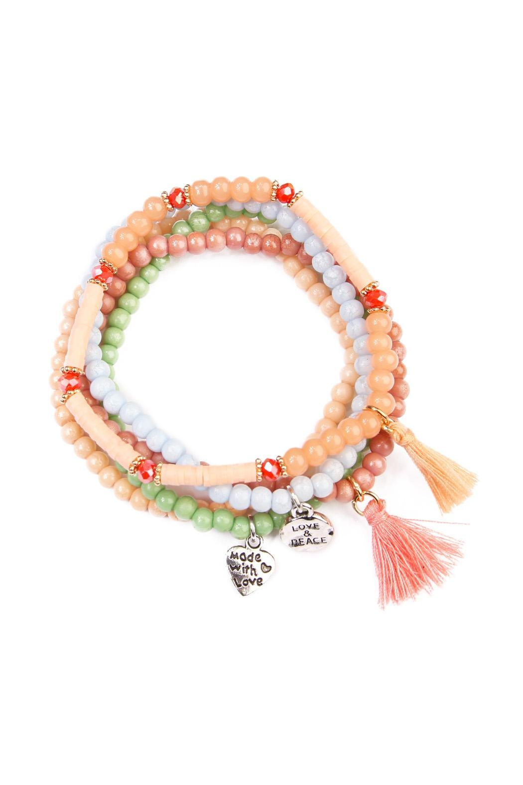 Riah Fashion Charm Beaded  Bracelet - Front Cropped Image