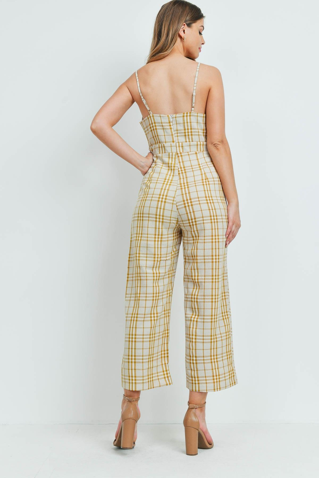 Riah Fashion Checkered-Jumpsuit - Front Full Image