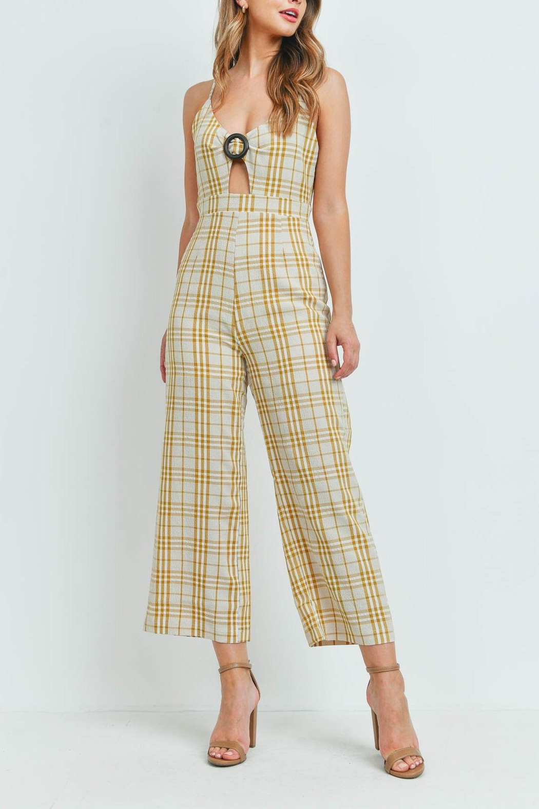 Riah Fashion Checkered-Jumpsuit - Side Cropped Image