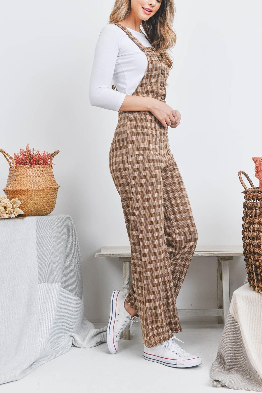 Riah Fashion Checkered Overall - Side Cropped Image