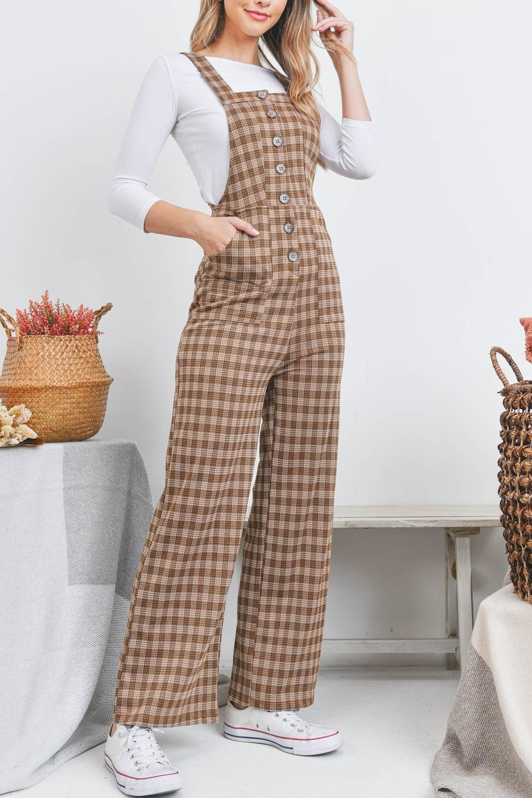 Riah Fashion Checkered Overall - Front Cropped Image