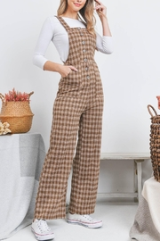 Riah Fashion Checkered Overall - Front cropped