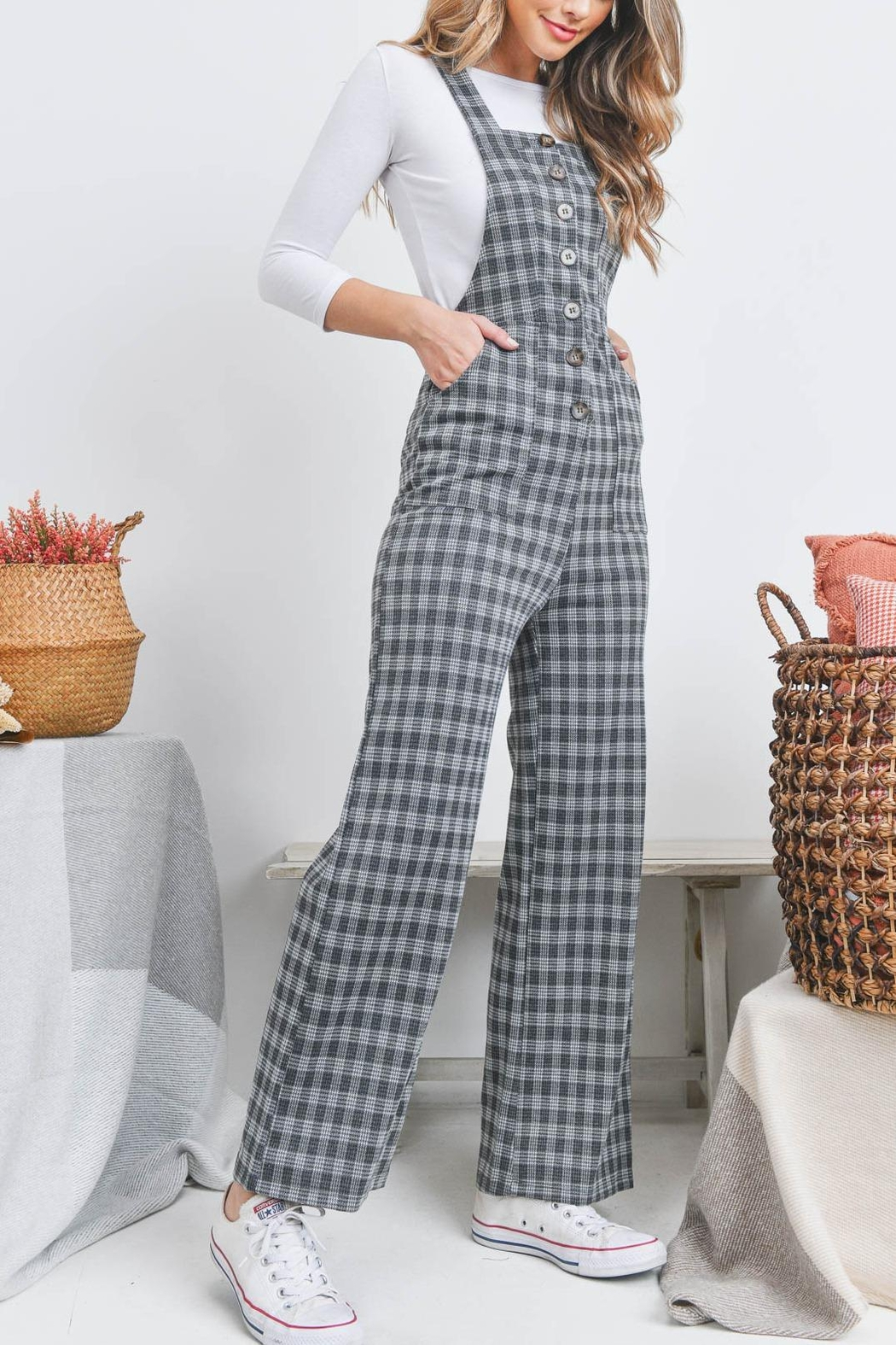 Riah Fashion Checkered Overall - Back Cropped Image