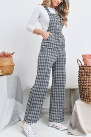 Riah Fashion Checkered Overall - Back cropped